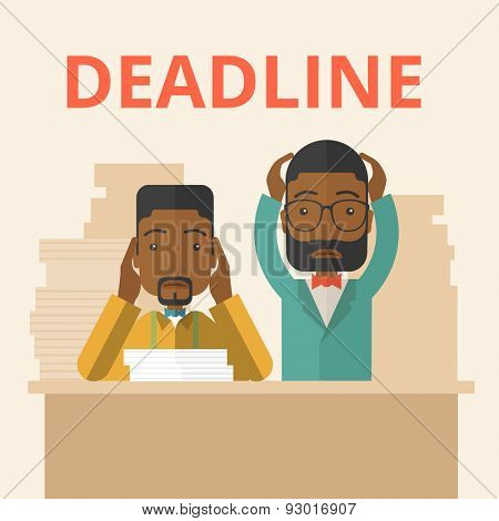 A two african-american employees is burnout  having a problem meeting the deadline, so many paper works to attend to. A Contemporary style with pastel palette, soft beige tinted background. Vector
