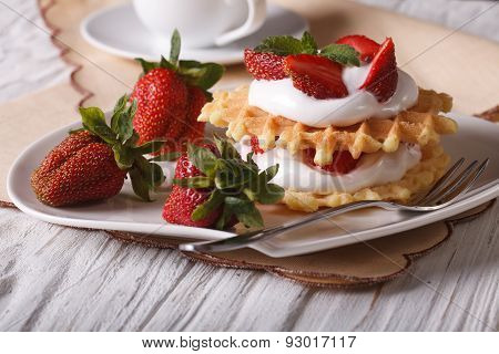 Delicious Dessert: Waffles With Fresh Strawberries And Cream