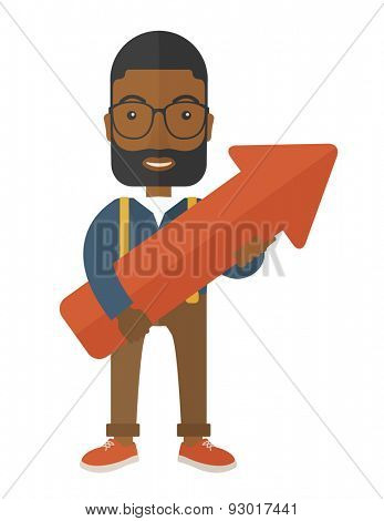 A happy and lucky young black guy holding arrow growing sign, successful in business career. Prosperity concept. A Contemporary style. Vector flat design illustration isolated white background