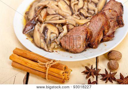 Venison Deer Game Filet And Wild Mushrooms