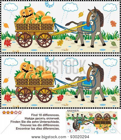 Find the differences visual puzzle - burro pulling cart with pumpkins