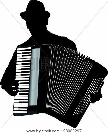 Musician Accordion Man Vector Illustration
