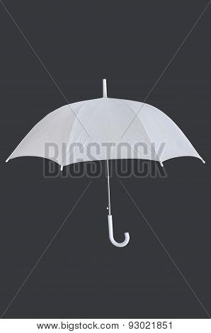 White blank umbrella isolated on grey background