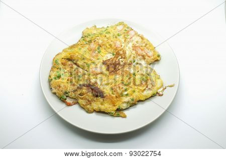 Omelet with vegetable and crab, thai and chinese style