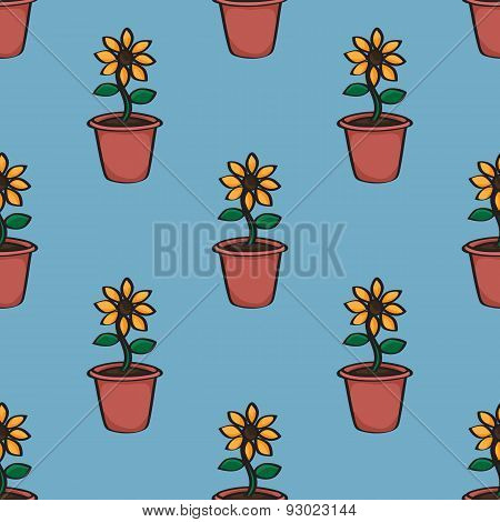 Seamless Cartoon Sunflower Background