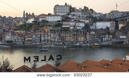 PORTO, PORTUGAL - JUNE 9, 2015: Top View of Douro river and Ribeira in historic center of Porto. UNESCO recognised Old Town of Porto as a World Heritage Site in 1996.