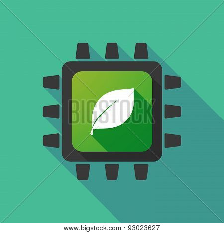 Cpu Icon With A Leaf