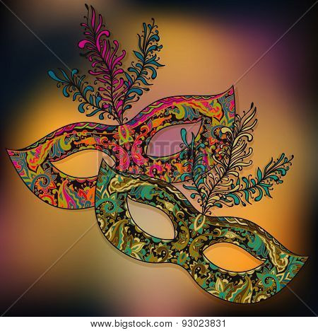Vector Illustration Of Two Floral Venetian Carnival Masks With Feathers
