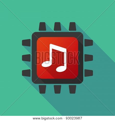 Cpu Icon With A Note Music