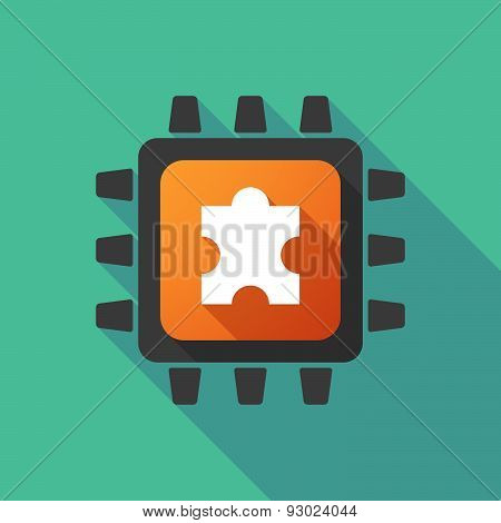 Cpu Icon With A Puzzle Piece