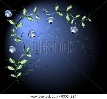 Border of branches with flower buds. EPS10 vector illustration