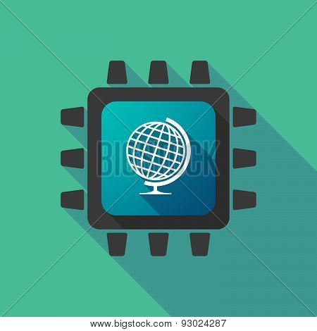 Cpu Icon With A World Globe