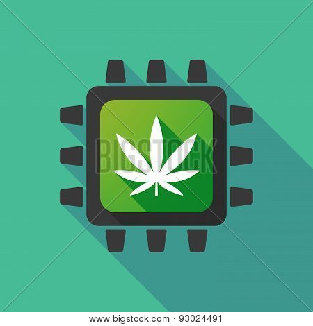 Cpu Icon With A Marijuana Leaf