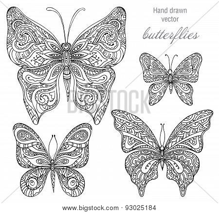 Vector Set Of Black And White Ornamental  Butterflies Isolated On White Background