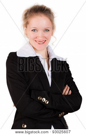 Close up of beautiful woman in black suit with crosswised arms