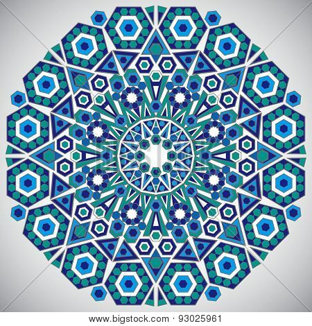 Decorative Design Of Circle Template In Traditional Oriental Style