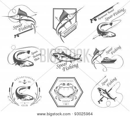 Big Set Of Badges And Icons Spearfishing