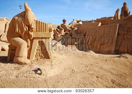 Photographer Large Sand Sculpture, Portugal.