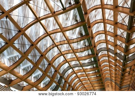 detail of modern wood roof structure