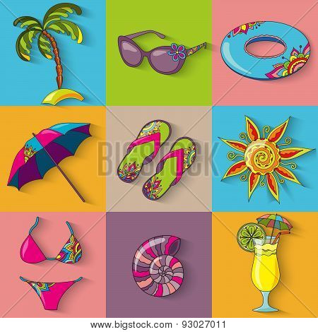 Summer Holidays Seaside Beach Icons Set.
