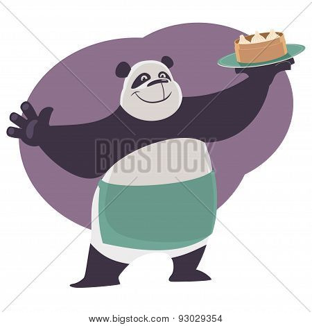 Panda shows a tray with Chinese food Dim Sum.