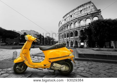 Yellow vintage scooter