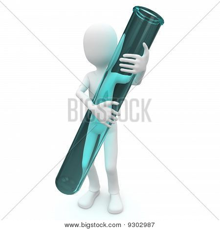 3D Man With Test Tube