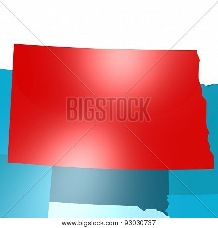 North Dakota Map On Blue Usa Map