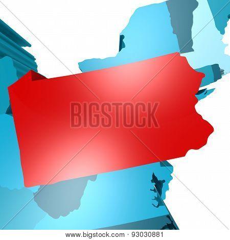Pennsylvania Map On Blue Usa Map