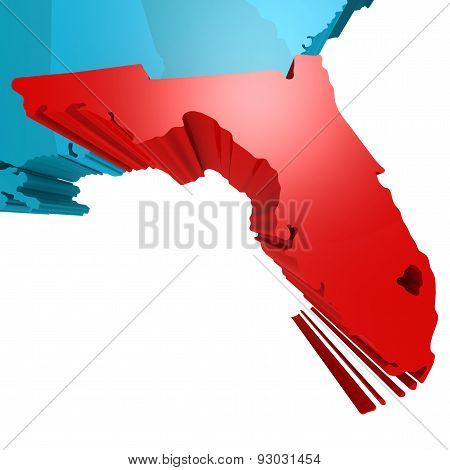 Florida Map On Blue Usa Map