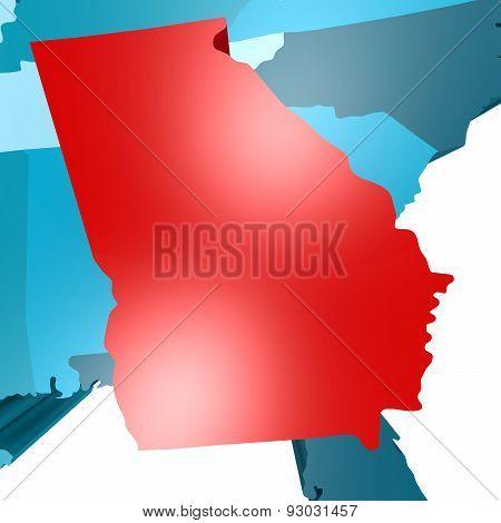 Georgia Map On Blue Usa Map