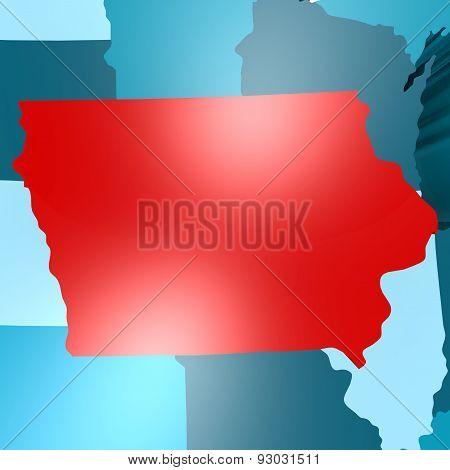 Iowa Map On Blue Usa Map