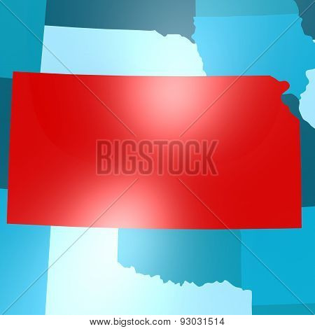Kansas Map On Blue Usa Map