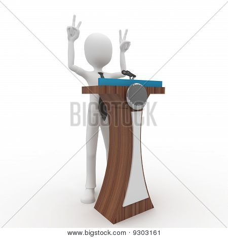 3D Man Giving Speech