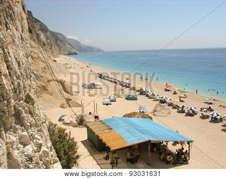 Egremni beach at Lefkada Greece, 18 July 2009. Exotic Egremni beach in Lefkada Greece.