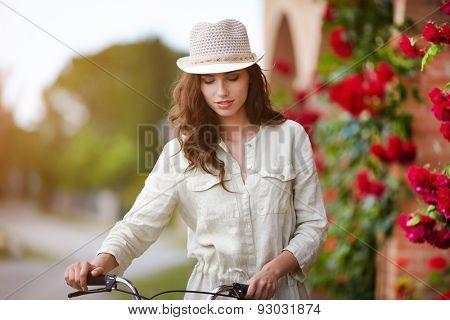 Summer girl in garden