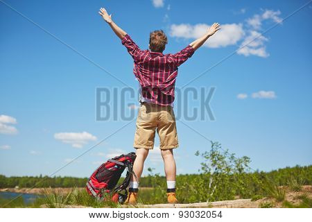 Back view of happy tourist with raised arms standing on country road