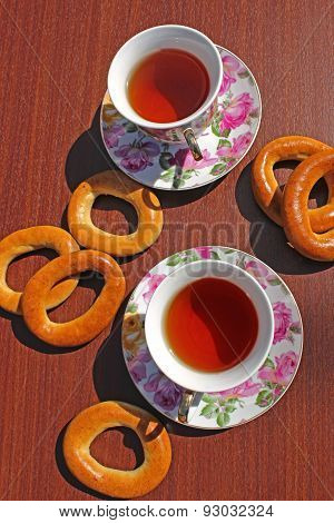 Cup Of Tea And Bagels