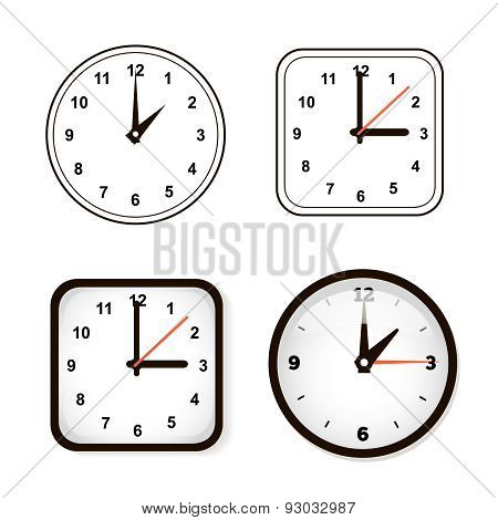 Set of 4 wall clocks. Watch and circle
