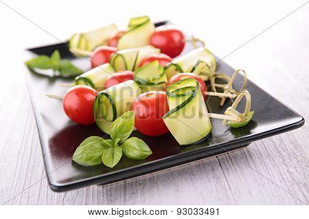 tomato,zucchini and basil