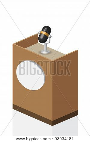 3D Microphone On Brown Podium On Stage, Illustration, Vector