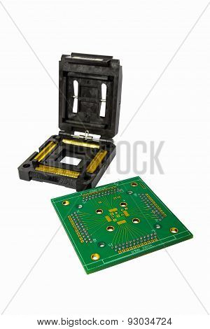 IC Socket And Board Isolated On White