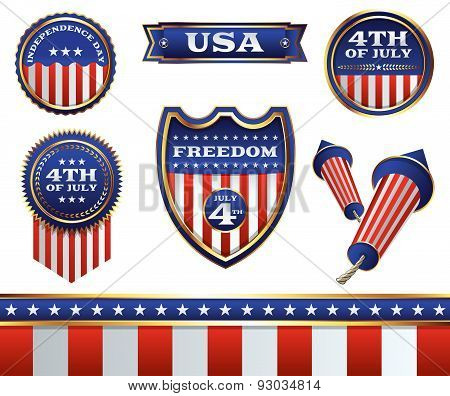 4Th Of July Badges And Elements Illustration