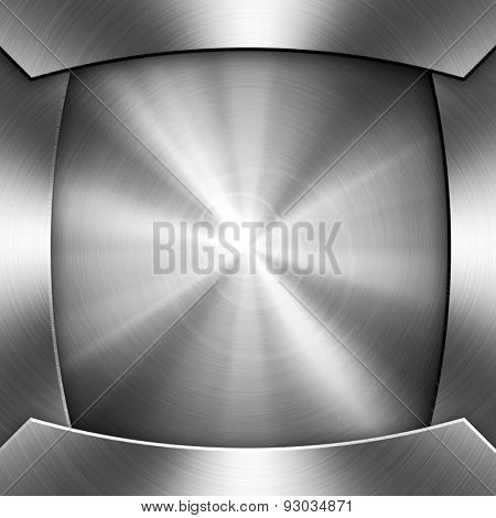 polished metal plate with ray pattern