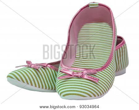 Ballet Flats Striped With Bow Marsh Color Pink