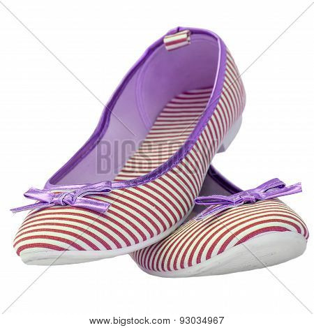 Ballet Flats Striped With Bow Red Lilac