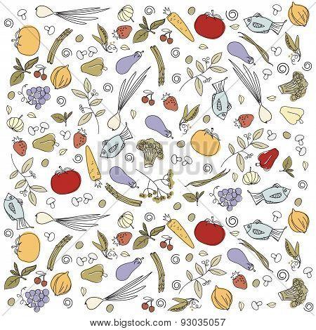 scattered vegetables background