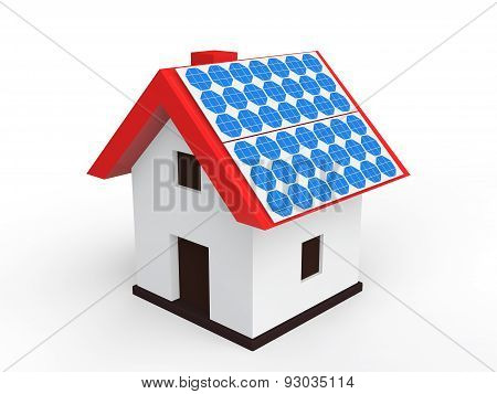 3d house with solar panels