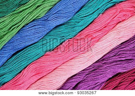 Colorful Skeins Of Floss As Background Texture
