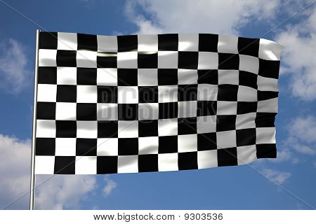 waving Zielflagge an einem wolkigen Himmel